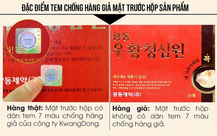 Chi tiết mặt sau hộp an cung ngưu Hàn Quốc tổ kén chính hãng